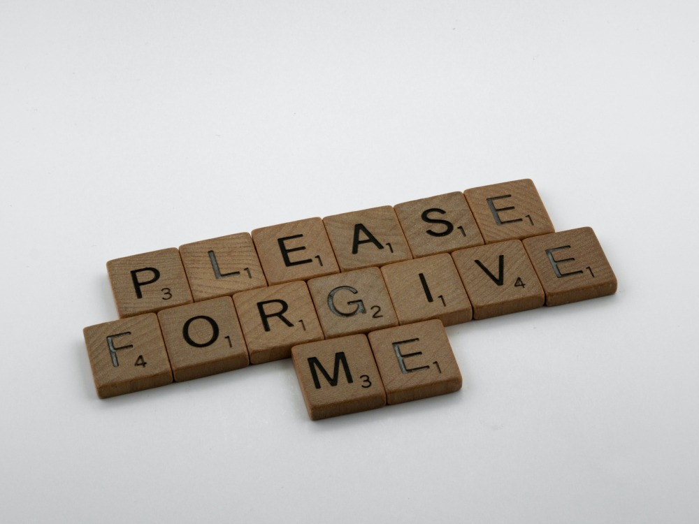 scrabble, scrabble pieces, lettering, letters, wood, scrabble tiles, white background, quote, words, type, typography, design, layout, please forgive me, forgiveness, say sorry, sorry is the hardest word, sorry, forgiveness, forgive, wrong, right, shame,