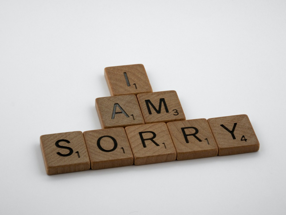 scrabble, scrabble pieces, lettering, letters, wood, scrabble tiles, white background, words, type, typography, design, layout, i am sorry, sorry, apologise, say sorry, regret, make up, break up, mistake, hardest word,