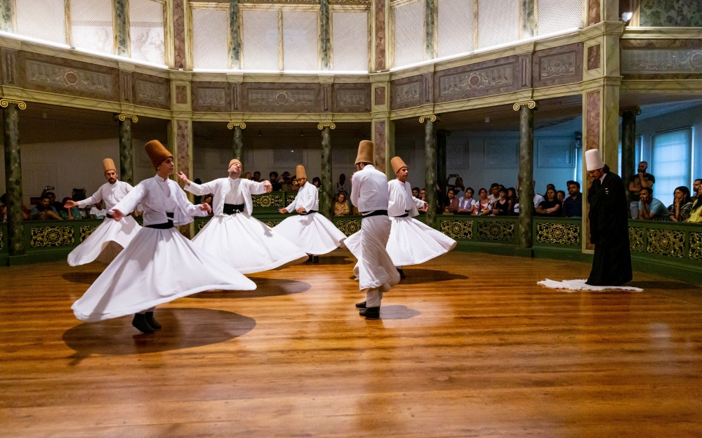The Whirling Dervishes in Galata Mevlavi Museum in Istanbul.
